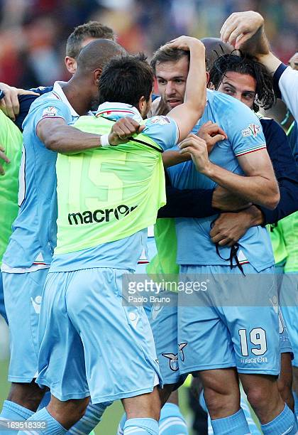 Senad Lulic of SS Lazio celebrates with his team-mates after scoring the opening goal during the TIM cup final match between AS Roma v SS Lazio at...