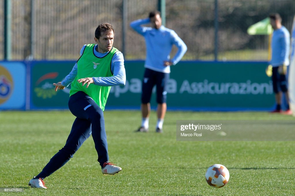 Senad Lulic of SS Lazio during a training session on March 13, 2018 in Rome, Italy.
