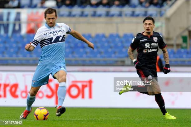 Senad Lulic of SS Lazio during the Serie A match between SS Lazio and Cagliari at Stadio Olimpico on December 22 2018 in Rome Italy