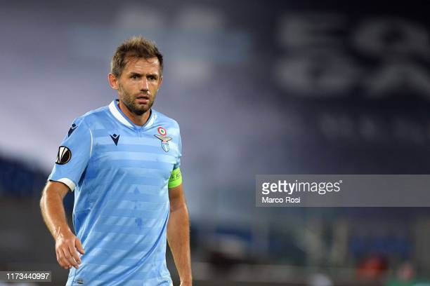 Senad Lulic of SS lazio during the UEFA Europa League group E match between SS Lazio and Stade Rennes at Stadio Olimpico on October 3 2019 in Rome...