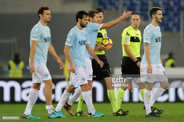 Senad Lulic of SS Lazio protests with the referee Piero Giacomelli at the end of the first half during the Serie A match between SS Lazio and Torino...