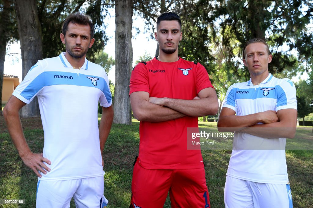 Senad Lulic, Thomas Strakosha and Lucas Leiva of SS Lazio attend the SS Lazio unveil new shirt for 2018-19 Season on July 12, 2018 in Rome, Italy.