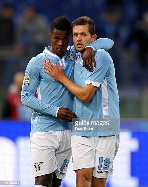 Senad Lulic with his teammate Balde Diao Keita of SS Lazio celebrates after scoring the second team's goal during the Serie A match between SS Lazio...