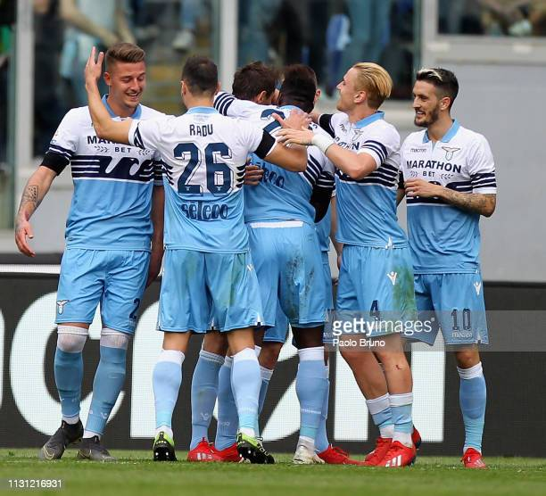 Senad Lulic with his teammates of SS Lazio celebrates after scoring the team's fourth goal during the Serie A match between SS Lazio and Parma Calcio...
