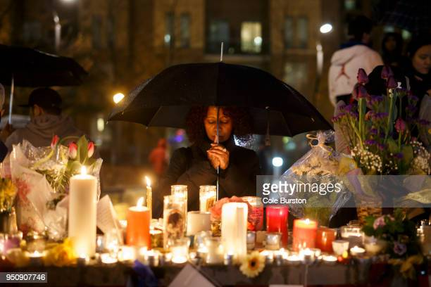 Senait Teclom attends a vigil for the victims of the mass killing on April 24 2018 in Toronto Canada A suspect identified by police as Alek Minassian...