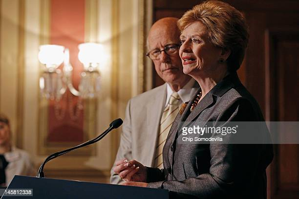 Senate Agriculture Nutrition and Forestry Committee Chairman Debbie Stabenow and ranking member Sen Pat Roberts hold a news conference about the...