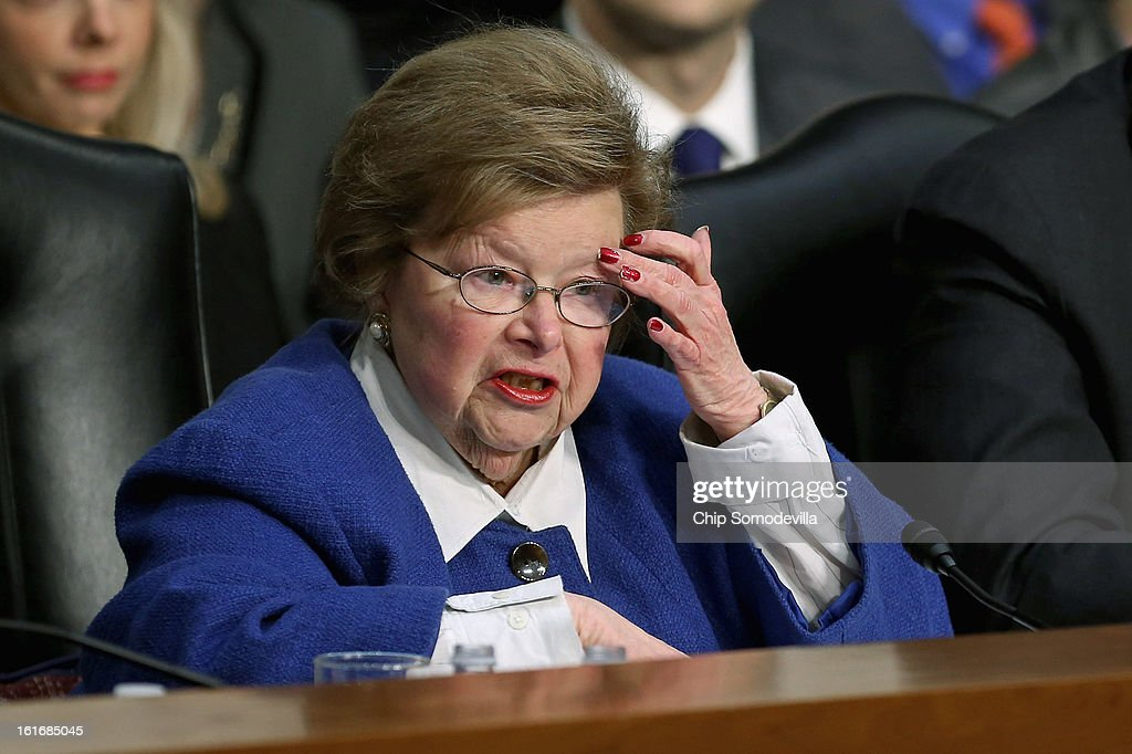 Senate Appropriations Committee Chairwoman Barbara Mikulski (D-MD) questions witnesses during a committee hearing about the potential impacts of 'the sequester' on Capitol Hill February 14, 2013 in Washington, DC. This was Mikulski's first hearing as chairwoman. 'The sequester,' automatic spending cuts to military and nonmilitary programs, will go into affect March 1 if Congress and the White House can not find common ground on a federal budget.