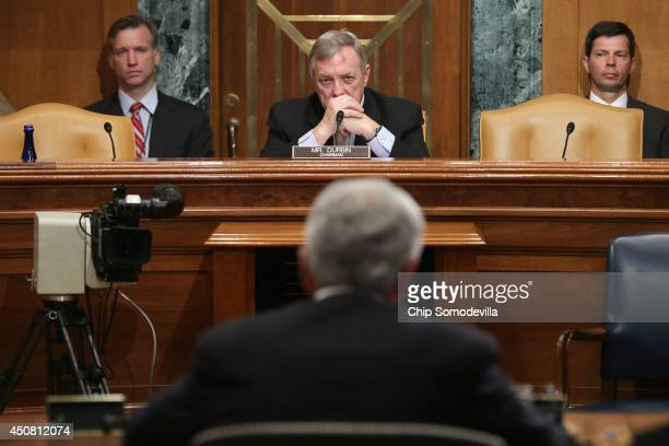 Senate Appropriations Committee Defense Subcommittee Chairman Richard Durbin listens to testimony from Defense Secretary Chuck Hagel during a hearing...