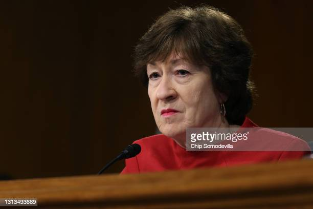 Senate Appropriations Committee member Sen. Susan Collins listens to testimony from members of the Biden administration during a hearing in the...