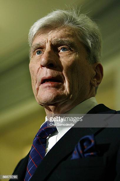 Senate Armed Services Committee chairman John Warner holds a news conference following a closed meeting of the committee where Pentagon officials...