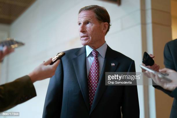 Senate Armed Services Committee member Sen Richard Blumenthal talks to reporters following a closeddoor briefing at the US Capitol October 26 2017 in...