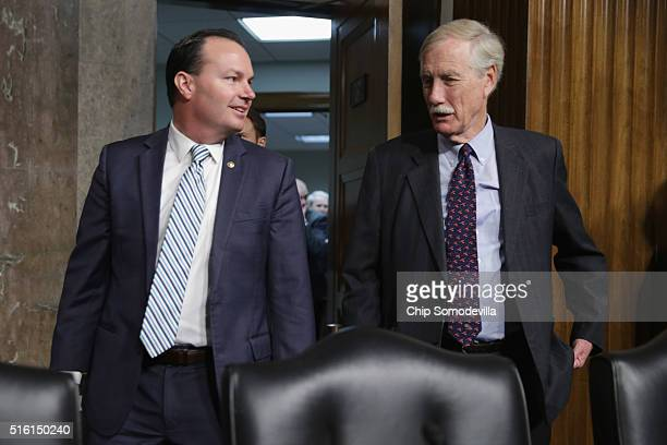 Senate Armed Services Committee members Sen Mike Lee and Sen Angus King arrive for hearing about the Pentagon budget in the Dirksen Senate Office...
