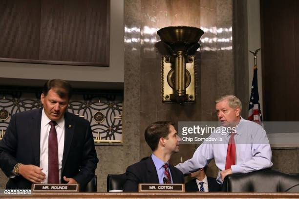 Senate Armed Services Committee members Sen Mike Rounds Sen Tom Cotton and Sen Lindsey Graham visit before a hearing in the Dirksen Senate Office...
