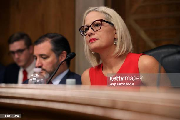 Senate Aviation and Space Subcommittee ranking member Sen Kyrsten Sinema questions witnesses during a hearing in the Dirksen Senate Office Building...