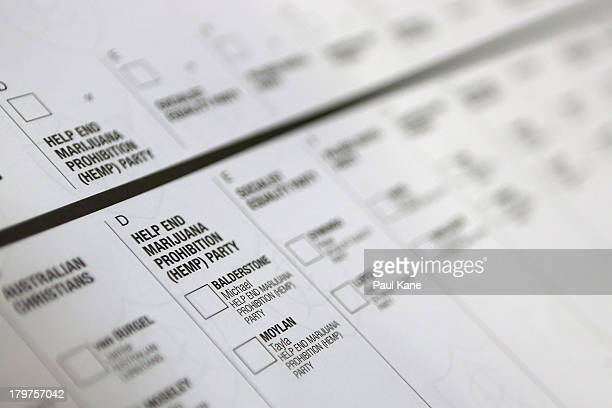 Senate ballot paper is displayed at Huntingdale Primary School in the electorate of Hasluck on election day on September 7 2013 in Perth Australia...