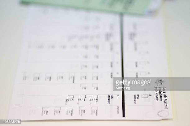 Senate Ballot Paper sits on a table as voters go to the polls to vote for their new government on Federal Election day at Bondi Surf Bathers Life...