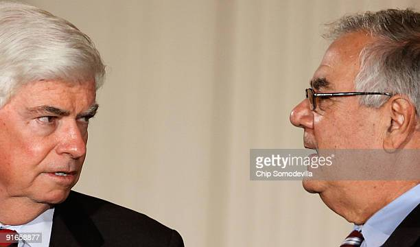 Senate Banking and Urban Affairs Committee Chairman Christopher Dodd and House Financial Services Committee Chairman Barney Frank talks before an...
