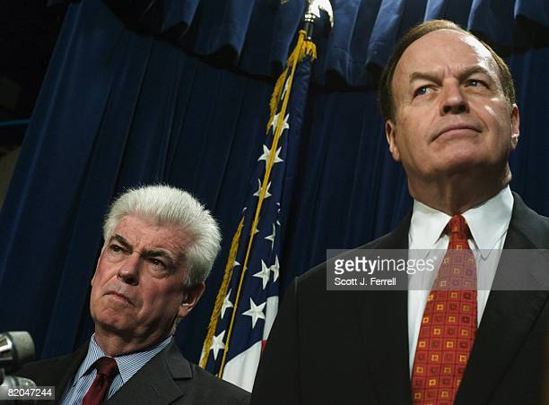 Senate Banking Chairman Christopher J Dodd DConn and ranking member Richard C Shelby RAla during a news conference on the housing bill The House was...