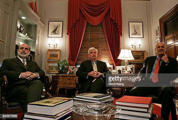 Senate Banking Committee Chairman Christopher Dodd a Democrat from Connecticut center meets with Federal Reserve Chairman Ben S Bernanke left and...