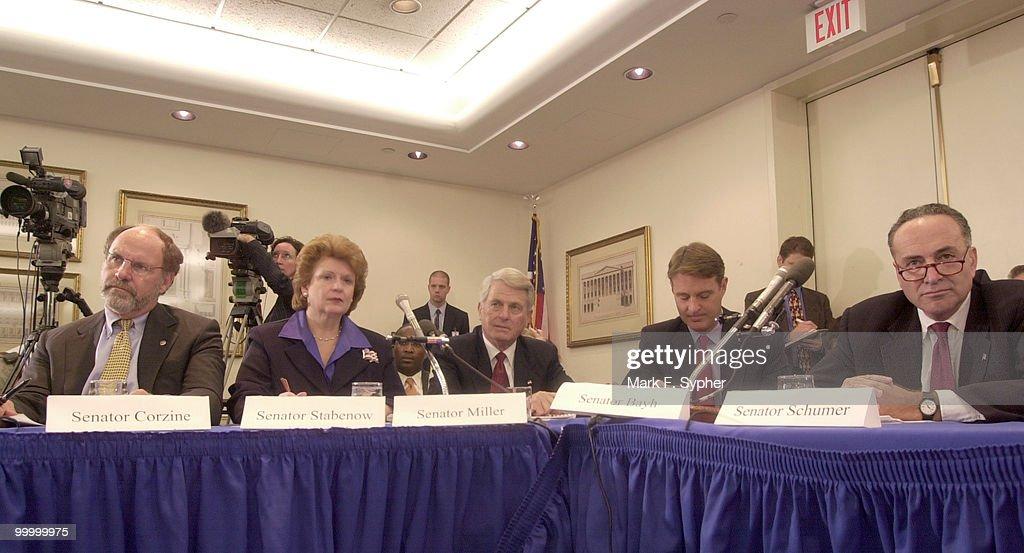 Senate Banking committee members listen to Sen. Bill Nelson's (D-FL) testimony. From left, Sen. Jon Corzine (D-NJ), Sen. Debbie Stabenow (D-MI), Sen. Zell Miller (D-GA), Sen. Evan Bayh (D-IN) and Sen. Charles Schumer (D-NY).