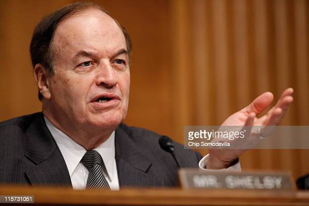Senate Banking, Housing and Urban Affairs Committee ranking member Sen. Richard Shelby questions a witness during a committee hearing on Capitol Hill...