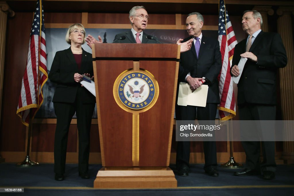 Senate Budget Committee Chair Patty Murray (D-WA), Senate Majority Leader Harry Reid (D-NV), U.S. Sen. Charles Schumer (D-NY) and Senate Majority Whip Richard Durbin (D-IL) hold a news conference at the U.S. Capitol on the eve of the budget sequester February 28, 2013 in Washington, DC. Leaders on Capitol Hill are so resigned to the idea of the sequester that Senate Chaplain Barry Black opened today's session with the prayer, 'As we anticipate an across-the-board budget cuts across our land, we still expect to see your goodness prevail, O God, and save us from ourselves.'
