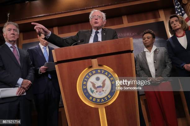 Senate Budget Committee ranking member Sen Bernie Sanders speaks during a news conference critical of the Republican tax and budget plan with Rep...