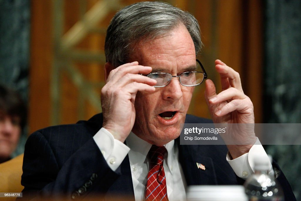 Senate Budget Committee ranking member Sen. Judd Gregg (R-HN) raises his voice while questioning White House Office of Managment and Budget Director Peter Orszag about the Obama Administration's FY2011 budget on Capitol Hill February 2, 2010 in Washington, DC. Gregg accused Orszag and the administration of not following the law when it proposes using TARP funds as loans to small businesses instead of using the money to pay down the deficit.