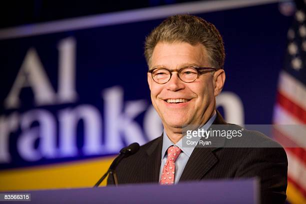 S Senate candidate Al Franken speaks to the crowd during the DFL gathering on November 4 2008 at the Crowne Plaza Hotel in St Paul Minnesota The...