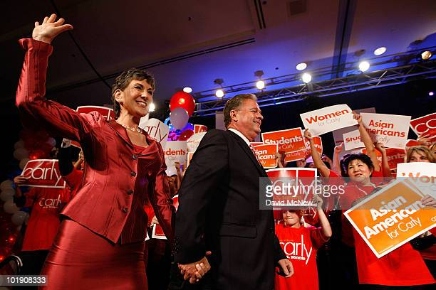 S Senate candidate and former HewlettPackard CEO Carly Fiorina arrives with her husband Frank Fiorina to celebrate her primary win at the California...