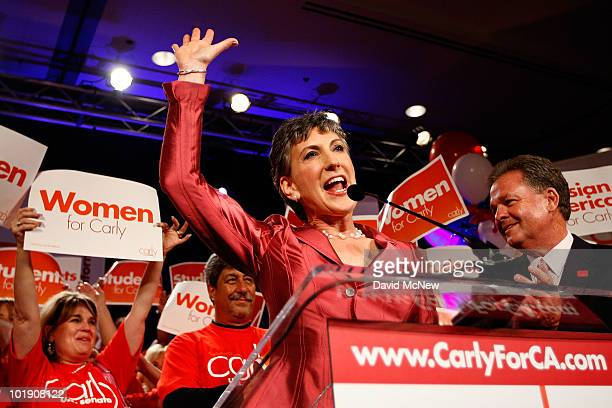 S Senate candidate and former HewlettPackard CEO Carly Fiorina celebrates her primary win with her husband Frank Fiorina at her side at the...