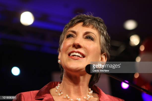 Senate candidate and former Hewlett-Packard CEO Carly Fiorina celebrates her primary win at the California Republican Party event on California...