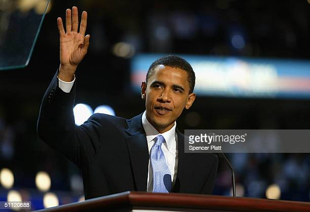 Senate candidate Barack Obama of Illinois delivers the keynote address to delegates on the floor of the FleetCenter on the second day of the...