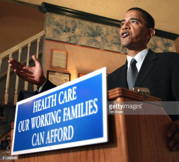 S Senate candidate Barack Obama speaks to the media at the Ann Sather restaurant September 7 2004 in Chicago Illinois Obama outlined a plan to help...
