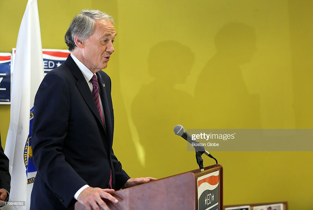US Senate candidate Ed Markey holds a press conference in Canton with Norfolk County Sheriff Michael G. Bellotti and retired teacher Sue Leahy on Thursday, June 20, 2013.