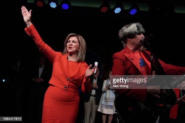 S Senate candidate for Tennessee Rep Marsha Blackburn celebrates as country singer John Rich performs during an election night party November 6 2018...
