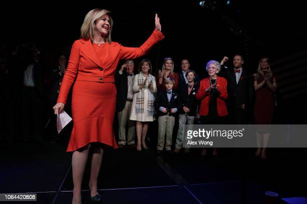 S Senate candidate for Tennessee Rep Marsha Blackburn waves to supporters as members of her family look on during an election night party November 6...