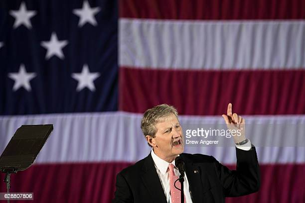 S Senate candidate from Louisiana John Kennedy speaks before Presidentelect Donald Trump takes the stage at the Dow Chemical Hangar December 9 2016...