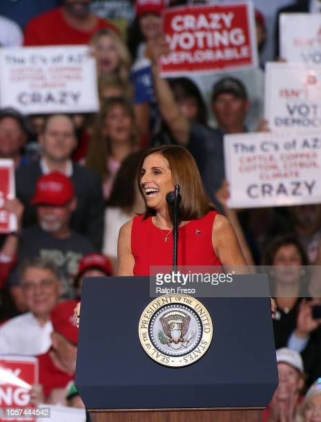 S Senate candidate Martha McSally RAriz speaks during a rally for President Donald Trump at the International Air Response facility on October 19...