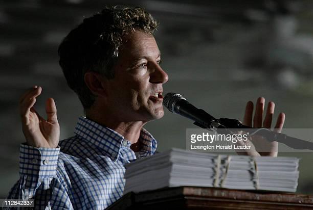 Senate candidate Rand Paul pledges his platform at the 129th Fancy Farm Picnic Saturday, August 1, 2009 in Lexington, Kentucky.