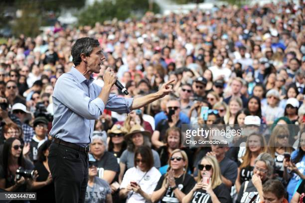 S Senate candidate Rep Beto O'Rourke addresses a campaign rally at the Pan American Neighborhood Park November 04 2018 in Austin Texas As Election...