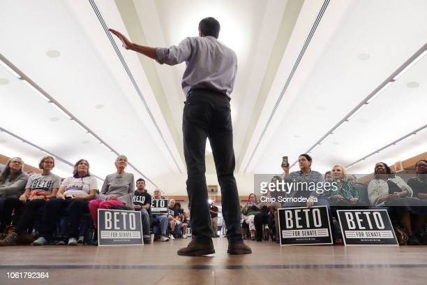 S Senate candidate Rep Beto O'Rourke addresses a campaign rally in the John Knox Memorial Center at the Texas Ranger Hall of Fame October 31 2018 in...