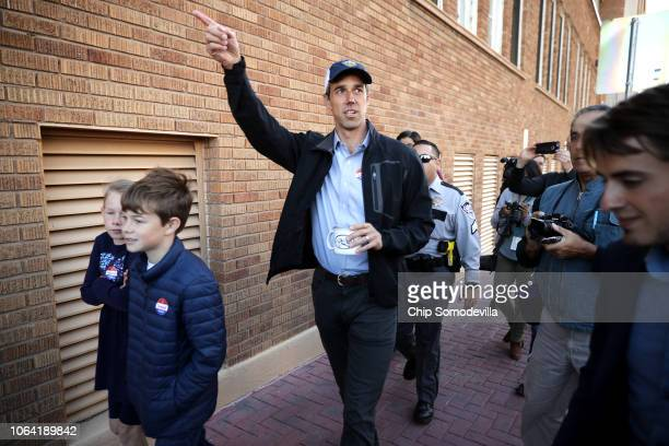 S Senate candidate Rep Beto O'Rourke and his children Molly and Ulysses leave their neighborhood polling place after voting at El Paso Community...