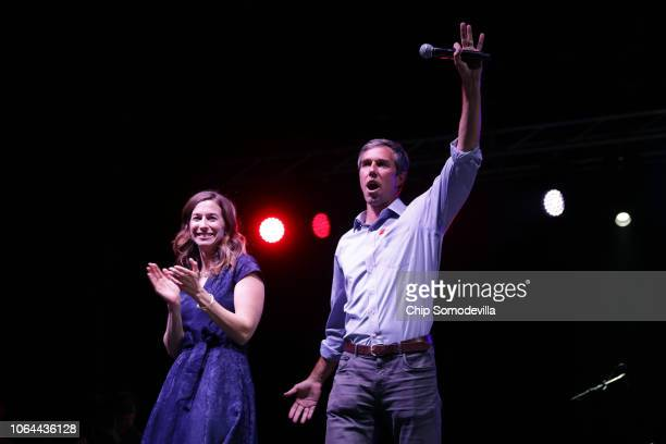 S Senate candidate Rep Beto O'Rourke and his wife Amy Sanders says goodbye to supporters while addressing a 'thank you' party on Election Day at...
