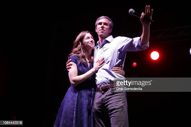 S Senate candidate Rep Beto O'Rourke and wife Amy Sanders arrive onstage at Southwest University Park November 06 2018 in El Paso Texas O'Rourke was...