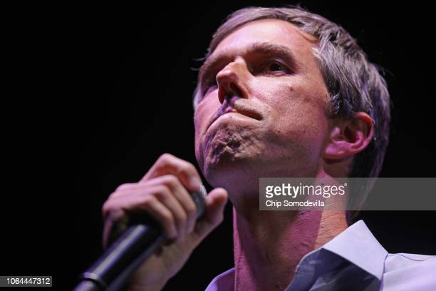 S Senate candidate Rep Beto O'Rourke concedes the race while addressing a 'thank you' party on Election Day at Southwest University Park November 06...
