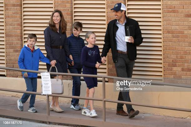 S Senate candidate Rep Beto O'Rourke his wife Amy Sanders and their children Henry Ulysses and Molly walk to their polling place to vote at El Paso...