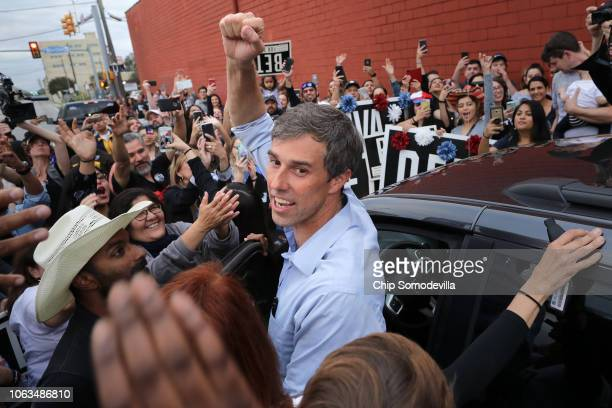 S Senate candidate Rep Beto O'Rourke pumps his fist for a cheering crowd before departing a campaign rally at the Alamo City Music Hall November 04...