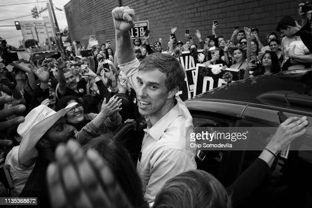 S Senate candidate Rep Beto O'Rourke pumps his fist for a cheering crowd before departing a campaign rally at the Alamo City Music Hall November 01...