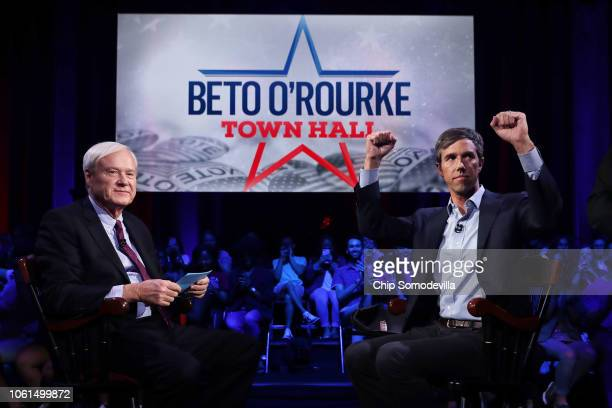 S Senate candidate Rep Beto O'Rourke sits down for a town hall meeting with MSNBC host Chris Matthews at he Cullen Performance Center at the...